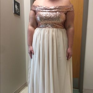 Neutral and rose gold bridesmaid dress